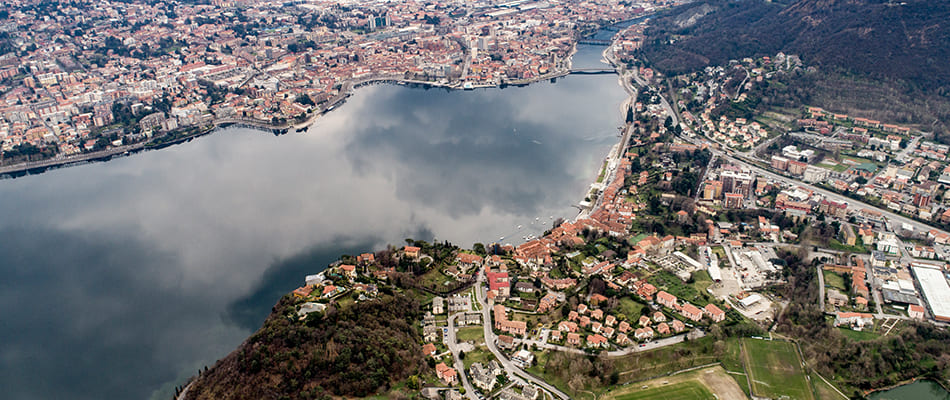 top view of the city of Lecco and the lake